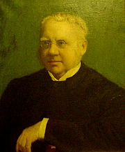 Fotografia dell'autore. Portrait of William Fiddian Moulton, currently hanging in the Vestry of the Moulton Memorial Chapel in the Leys School, Cambridge, UK. This photo of the portrait was taken on the occasion of the centennial commemorations of the Chapel by the great great great grandson of Moulton, James Clarke, on 13 October 2006.