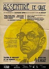 Författarporträtt. Cartell públic anunciant l'acte d'homenatge <i>Assentiré de grat</i> al Teatre Micalet, València, el dia 27-2-2010, amb motiu del 25é aniversari de la seua mort.