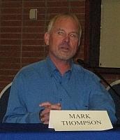 Författarporträtt. Susan Forrest  (LT Mark Thompson #1) 06-02-09 Stonewall Anniversary History panel, City of West Hollywood.