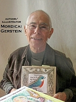 Författarporträtt. Mordicai Gerstein, illustrator, holding 'How To Paint the Portrait of a Bird.' At the Baltimore Book Festival. ©2009