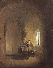 Foto do autor. Saint Anastasius of Sinai / St. Anastasius in his Monastery. Rembrandt, 1631.
