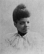 Kirjailijan kuva. Ida B. Wells Barnett. Page 60 of Sparkling Gems of Race Knowledge Worth Reading (1897) by James T. Haley.