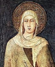 Foto do autor. Saint Clare of Assisi / Detail depicting Saint Clare from a fresco (1312–20) by Simone Martini in the Lower basilica of San Francesco, Assisi.