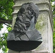 Kirjailijan kuva. Bust of Anton Aškerc, Ljubljana. Photo by user Sl-Ziga / Wikimedia Commons.