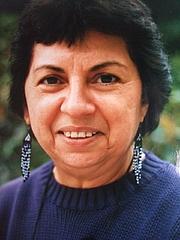 Forfatter foto. Gloria Anzaldúa at Smith College, 1990 [credit: K. Kendall]