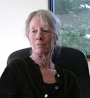 Author photo. Lyn Hejinian, photographed by Gloria Graham during the video taping of Add-Verse, 2005