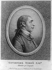 Fotografia de autor. Gouverneur Morris (1752-1816)<br> 1783 engraving, London <br>(LoC Prints and Photographs Division, <br>LC-USZ62-45482)
