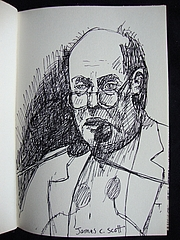 Författarporträtt. Drawing of James C. Scott by Karen Eliot.