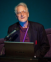 """Author photo. Ted Nelson gives a presentation on Project Xanadu for SuperHappyDevHouse at The Tech Museum of Innovation on February 19th, 2011. By Dgies - Own work, CC BY-SA 3.0, <a href=""""https://commons.wikimedia.org/w/index.php?curid=13691666"""" rel=""""nofollow"""" target=""""_top"""">https://commons.wikimedia.org/w/index.php?curid=13691666</a>"""