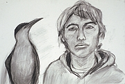 Forfatter foto. self portrait with a bird, pencil drawing