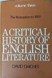 A Critical History of English Literature:…
