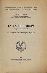 La langue birom (Nigeria septentrional) :…