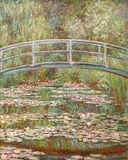 Bridge over a pond of water lilies…