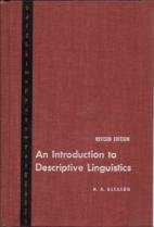 An introduction to descriptive linguistics…