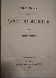 Vier Reden uber Leben und Kranksein 1862…