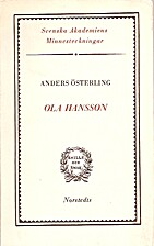 Ola Hansson : minnesteckning by Anders…