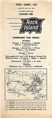 Rock Island Condensed Time Tables 1959