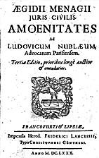 Ægidii Menagii Juris civilis amœnitates by…