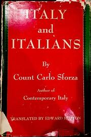 Italy And Italians de Count Carlo Sforza