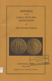 Annals of the Early Settlers Association of…